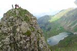Le sommet de l' Aiguille Verte ( 2045 ) et le lac de Lessy